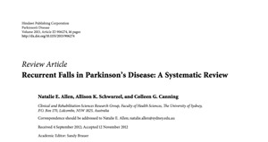 Recurrent Falls in Parkinson's Disease: A Systematic Review